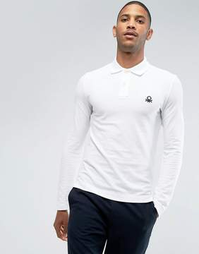 Benetton Muscle Fit Long Sleeve Polo Shirt In White