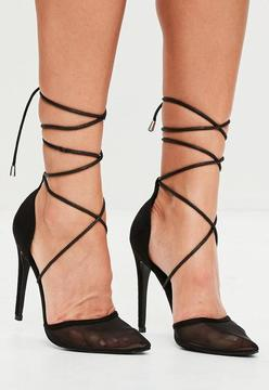 Missguided Black Mesh Ankle Tie Court Shoes
