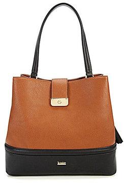 Kate Landry Tasseled Colorblocked Quilted Hobo Bag
