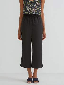 Frank and Oak Wide Leg Satin Pant in True Black