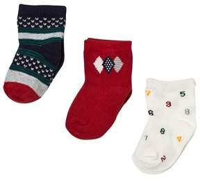 Mayoral Pack of 3 Navy, White and Red Patterned Socks