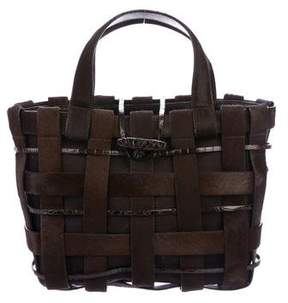 Nancy Gonzalez Woven Crocodile & Calf Hair Tote