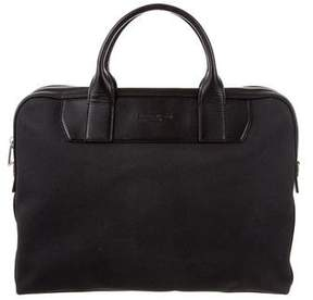 Michael Kors Leather-Trimmed Canvas Briefcase