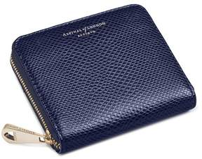 Aspinal of London Slim Mini Continental Purse In Midnight Blue Lizard