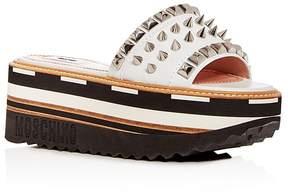 Moschino Women's Embellished Leather Platform Slide Sandals