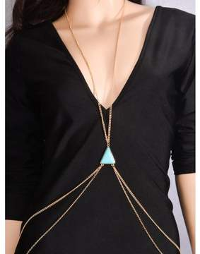 Alpha A A Gold Tone Women Bikini Cross Harness Waist Belly Body Blue Turquoise Chain Jewelry