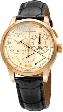 Jaeger-LeCoultre Jaeger Lecoultre Duometre Cream Dial 18kt Yellow Gold Black Alligator Leather Men's Watch