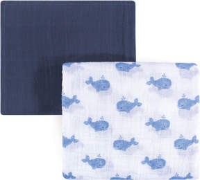 Hudson Baby 46'' x 46'' Blue Whale Muslin Swaddle Blanket - Set of Two