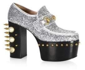 Gucci Vegas Pearl& Stud Glitter Platform Pumps