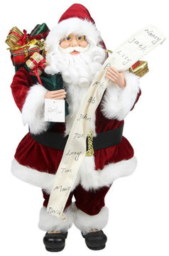 Asstd National Brand 3' Sitting Santa Claus with Naughty Or Nice List & Bag Of Presents