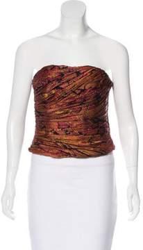 Carmen Marc Valvo Silk Strapless Top w/ Tags