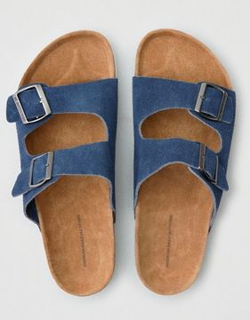 American Eagle Outfitters AE Suede Double Buckle Sandal