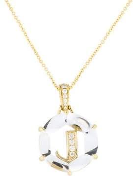 Frederic Sage 18K Diamond & Quartz Initial J Pendant Necklace