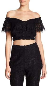 WAYF Casoria Ruffle Lace Crop Top