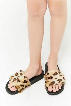 Forever 21 Girls Leopard Print Faux Fur Slides (Kids)