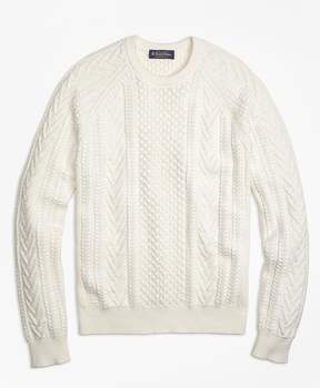 Brooks Brothers Cotton Fisherman Crewneck Sweater