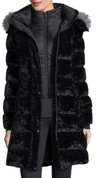 Andrew Marc Fox Fur-Trimmed Velvet Puffer Jacket