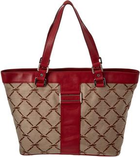 Longchamp Logo Jacquard & Leather Tote - BEIGE - STYLE