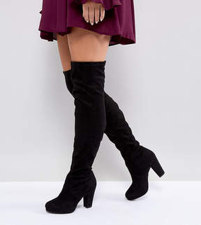 New Look Wide Fit Heeled Suedette Over The Knee Boot