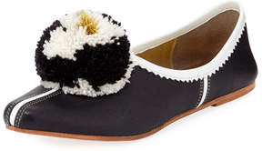 Figue Ines Leather Pompom Flat