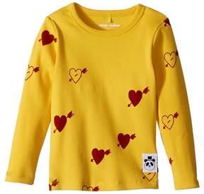 Mini Rodini Heart Rib Long Sleeve T-Shirt Girl's T Shirt
