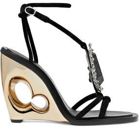 Alexander McQueen Embellished Suede Wedge Sandals - Black
