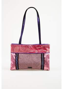 Etro Pre-owned Purple Multicolor Velvet & Embossed Leather Shoulder Bag.