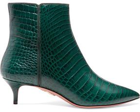 Aquazzura Quant Croc-effect Leather Ankle Boots - Emerald