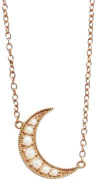 Andrea Fohrman Mini Pearl Crescent Moon Necklace - Rose Gold