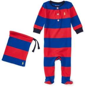 Ralph Lauren | Striped Cotton Pajamas | 6-12 months | Starboard red