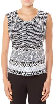 Allison Daley Geo Print Sleeveless Pleated Top