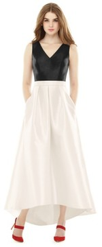 Alfred Sung Women's High/low V-Neck Sateen A-Line Gown