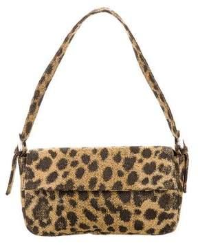 Rene Caovilla Lamé Cheetah Print Jacquard Shoulder Bag