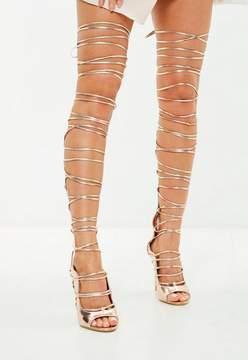 Missguided Rose Gold Knee High Gladiator Heeled Sandals