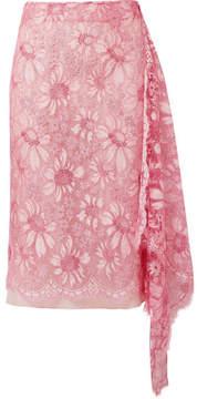 Calvin Klein Draped Metallic Lace Skirt - Pink