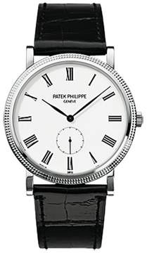 Patek Philippe Calatrava 18K White Gold Watch on Leather Strap 5119G