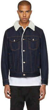 Neil Barrett Blue Denim Shearling Collar Jacket