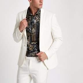 River Island Mens White peak lapel skinny fit suit jacket
