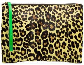 Marni multicoloured leopard print calf hair and leather clutch