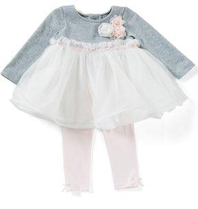 Edgehill Collection Baby Girls Newborn-6 Months Rosette Tutu Top & Leggings Set