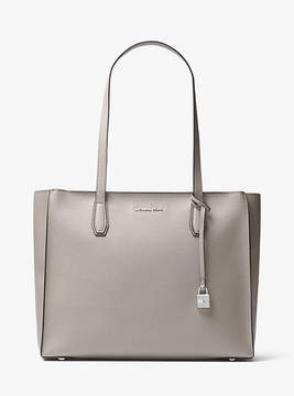 Michael Kors Mercer Large Top-Zip Leather Tote - GREY - STYLE
