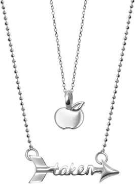 Alex Woo Little Words Sterling Silver Apple & Taken Arrow Pendant 2-Piece Necklace Set