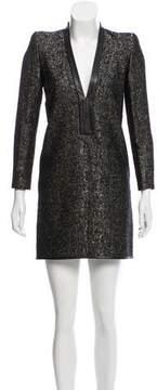 Barbara Bui Leather-Trimmed Wool Dress