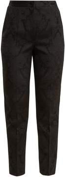 Dolce & Gabbana High-rise slim-leg floral-jacquard trousers