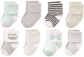 Luvable Friends Gray Owl Eight-Pair Socks Set - Infant