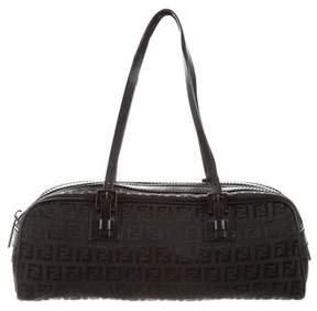 Fendi Leather-Trimmed Zucchino Handle Bag