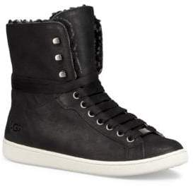 UGG Starlyn Leather and Sheepskin High-Top Sneaker