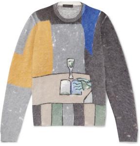 Prada Printed Angora-Blend Sweater