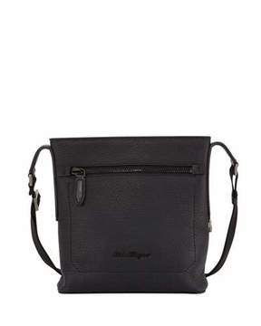 Salvatore Ferragamo Men's Black on Black Pebbled Leather Crossbody Bag, Black