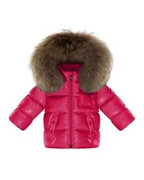 Moncler K2 Hooded Fur-Trim Puffer Coat, Fuchsia, Size 12M-3T